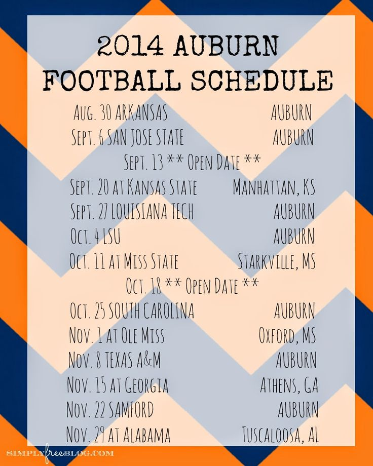 :: simply free ::: 2014 Auburn Football Schedule {Freebie}