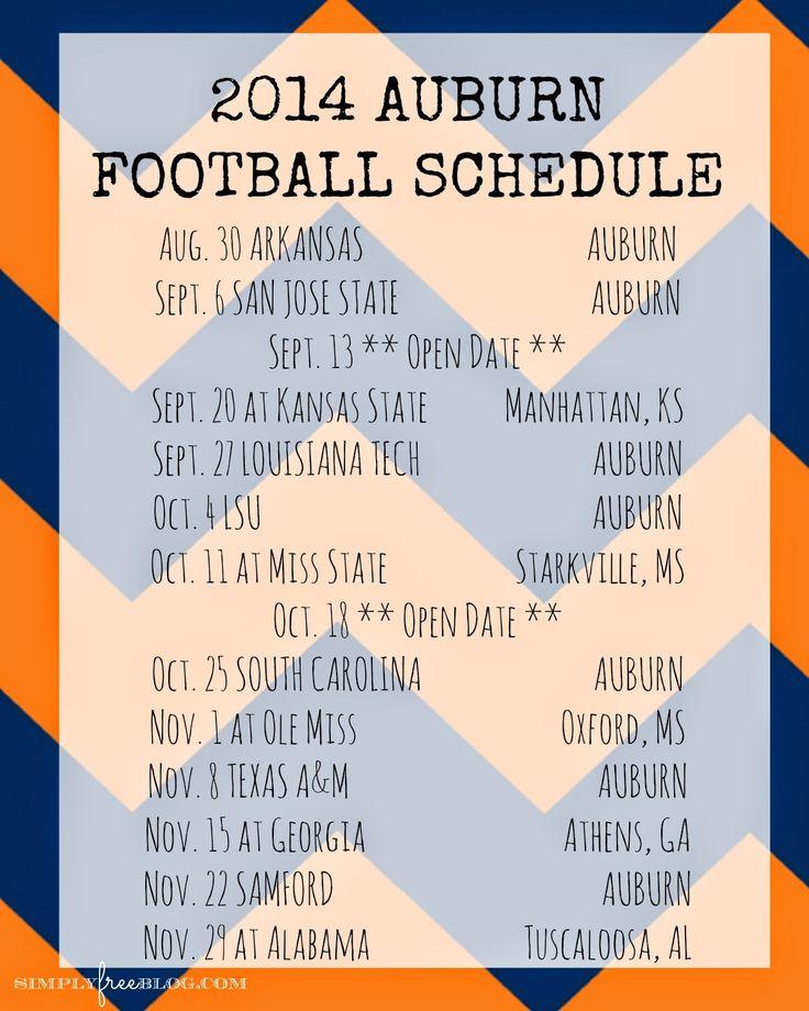 :: simply free ::: 2014 Auburn Football Schedule {Freebie}