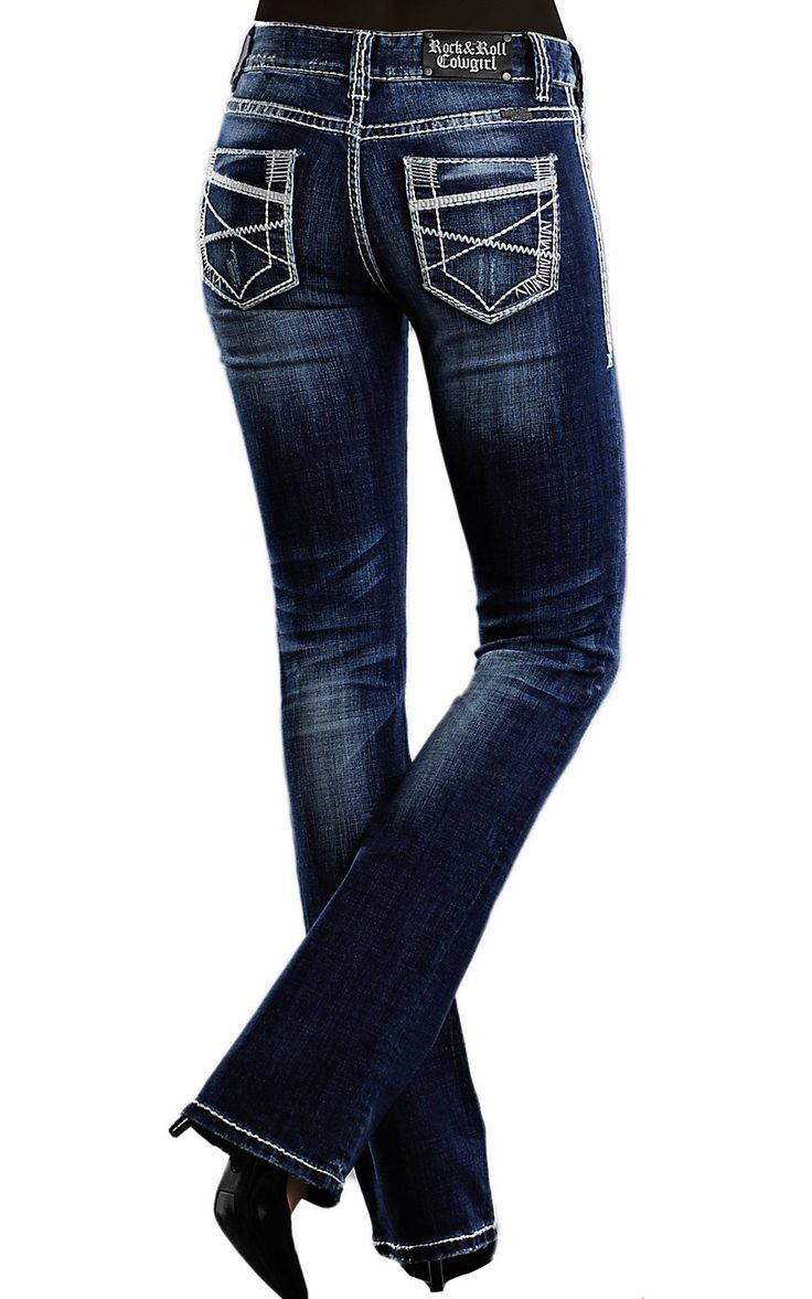 Rock & Roll Cowgirl® Women's Dark Wash Deco Embroidered Mid Rise Boot Cut Jean   Cavender's Boot City