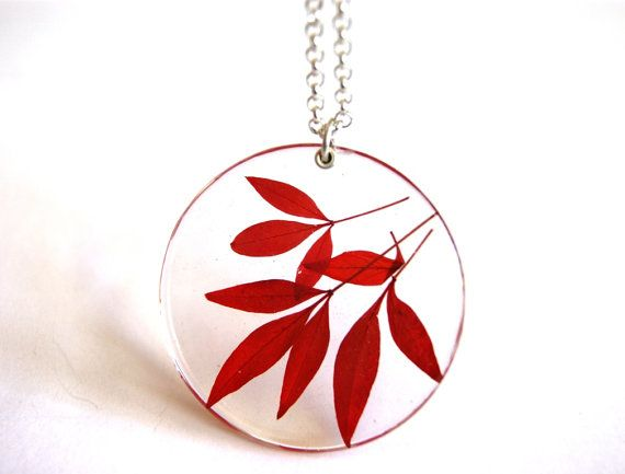 Large Statement Jewelry, Resin Pendant with Red Leaves, Australian Summer Leaves, Handmade Botanical Jewelry, Made by Oceanpetals