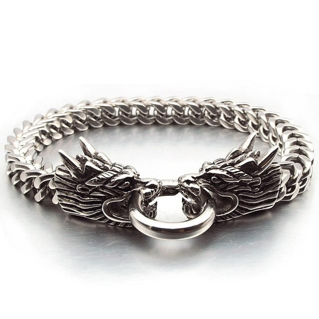 Double Oriental Dragon Animal Stainless Steel Bracelet