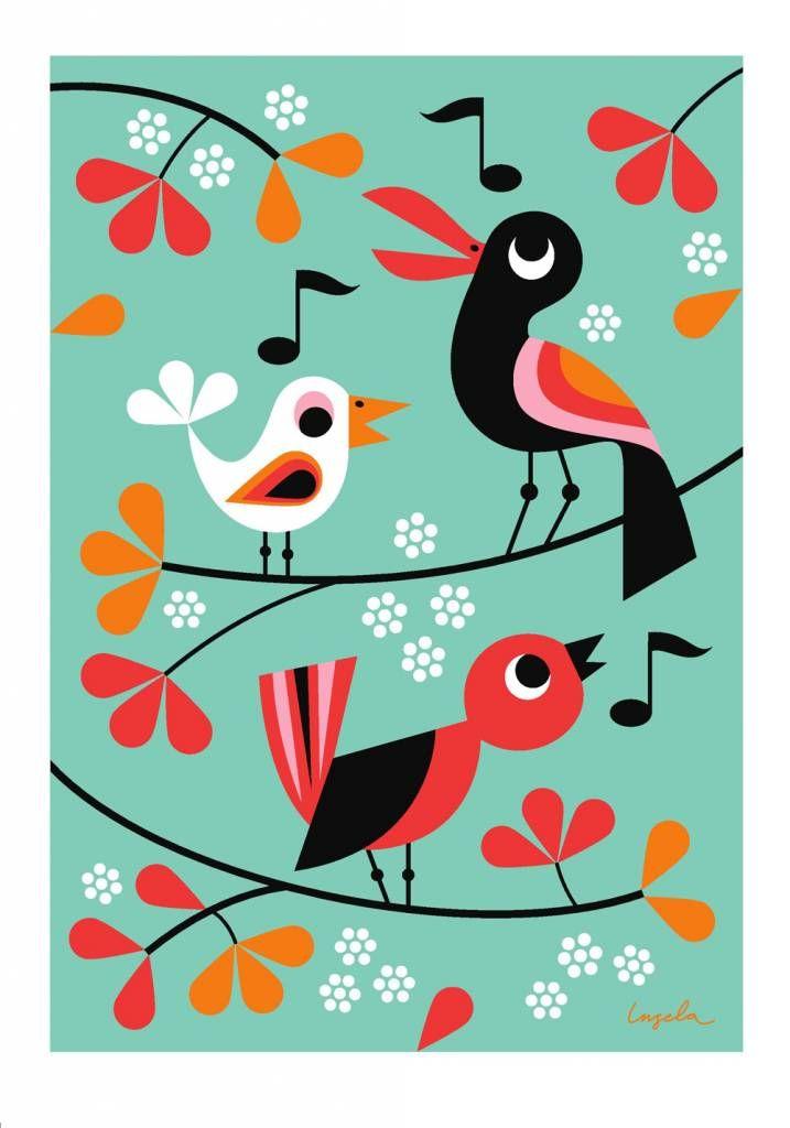 Omm design Poster zingende vogels http://www.ippysposters.nl/omm-design-poster-zingende-vogels.html 19,95