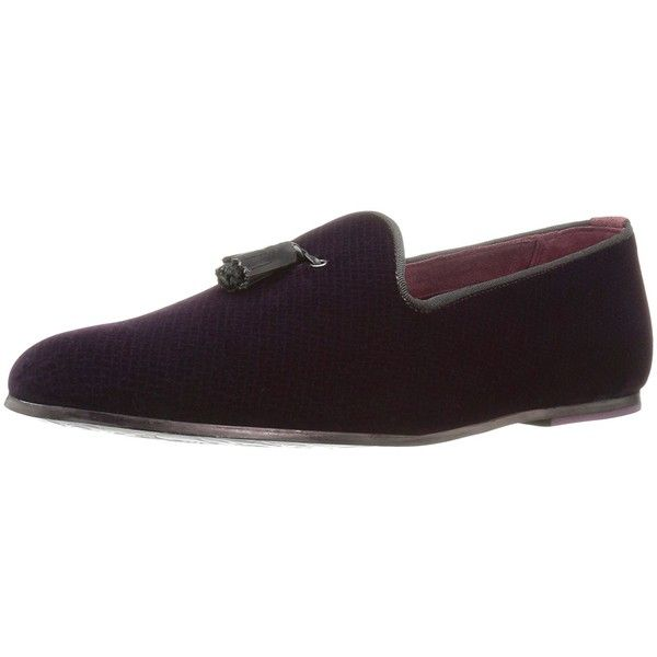 Ted Baker Men's Thrysa 3 Text Am Dk Red Slipper ($155) ❤ liked on Polyvore featuring men's fashion, men's shoes, men's slippers, mens velvet shoes, mens velvet slippers, mens leopard print shoes, mens red shoes and ted baker mens shoes