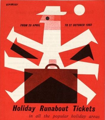Holiday Rubabout Tickets #travel #poster by Tom Eckersley 1962