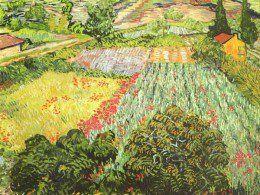 free cross stitch pattern based on Van Gogh field of poppies.