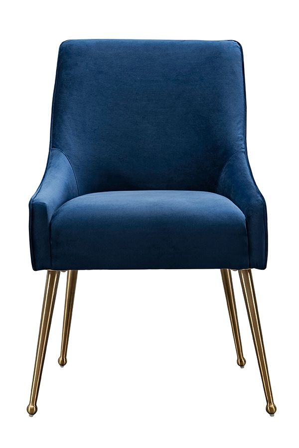 Mason Dining Chair Navy Blue Brushed Gold Legs In 2020 Dining