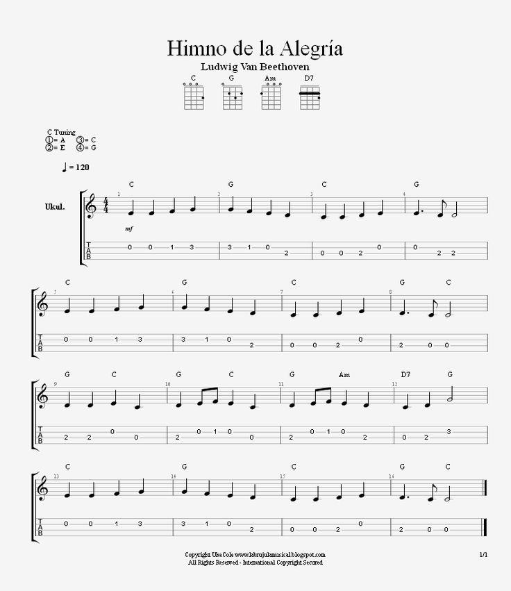 La Brújula Musical: Himno de la Alegría para Ukelele. Nivel Cero-Inici...