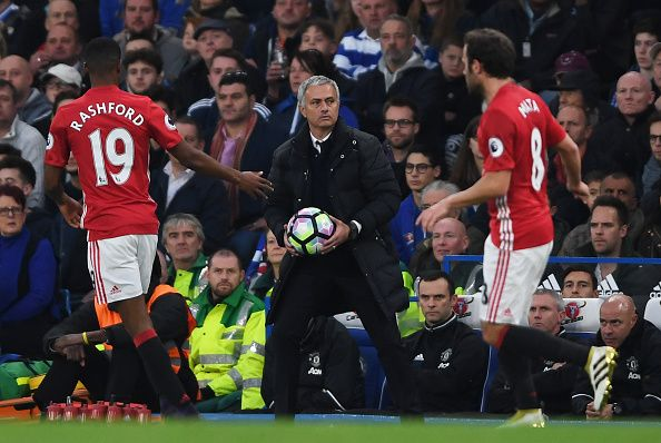 Jose Mourinho Manager of Manchester United reacts during the Premier League match between Chelsea and Manchester United at Stamford Bridge on October...
