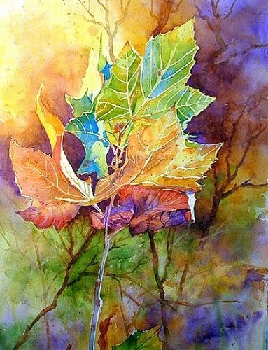 "AUTUMN BLAZE by Mary Shepard Watercolor ~ Image size:  21"" x 14"" unframed"