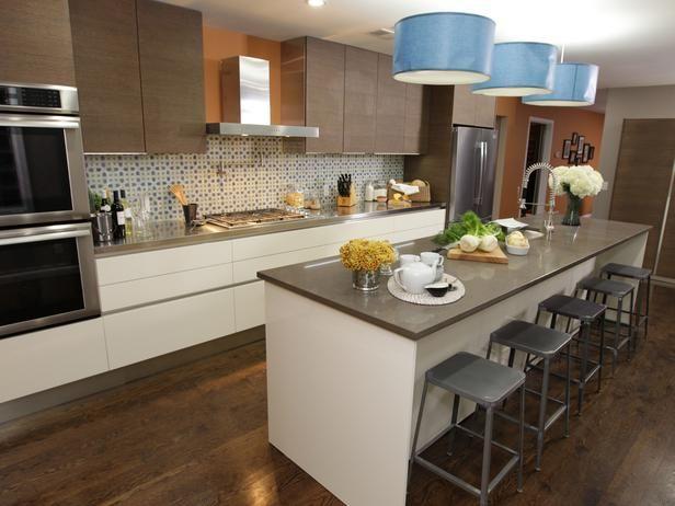 Kitchen Cousins: Warm contemporary kitchen with 11-foot island.
