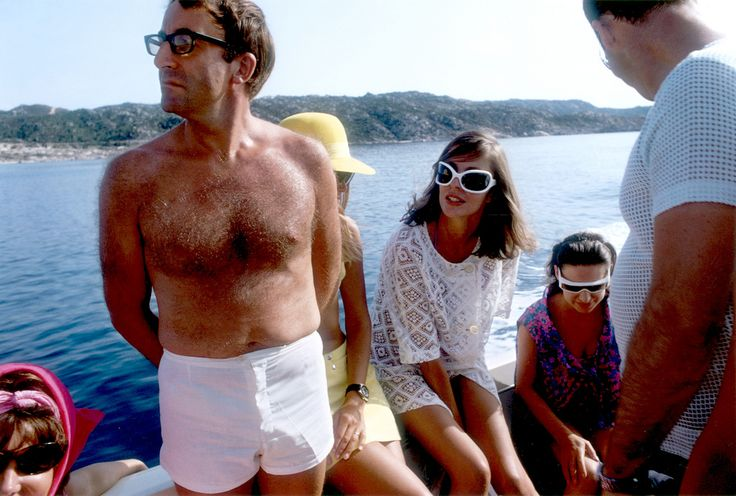 Comedian Peter Sellers holidays with Princess Margaret on the Aga Khan's yacht on the Costa Esmerelda, 1965. Slim Aarons.