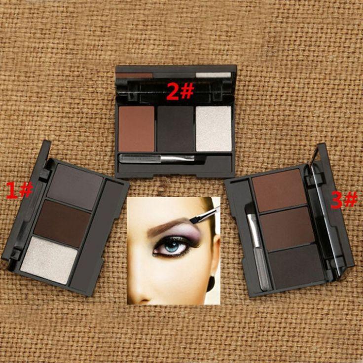 New Pro Makeup Eyeshadow Palette Eye Shadow Eyebrow Powder Tool Kit 3 Colors