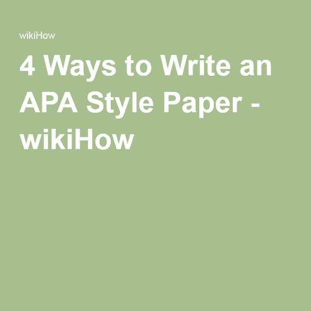how to write an apa style research paper