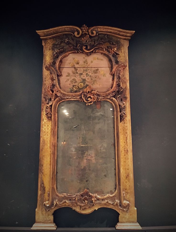 Antique mirror, neo rococo, guiding, ornaments, vintage, rose painting, gold, pink, interior