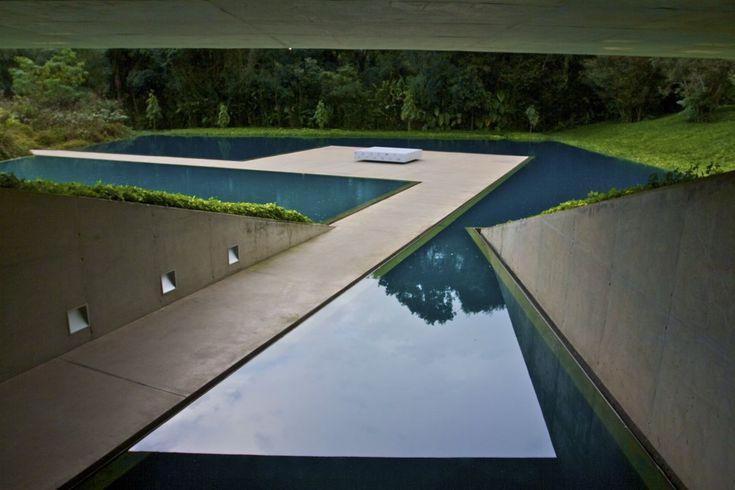 The pool of The Centro de Arte Contemporânea Inhotim designed by Rodrigo Cerviño Lopez in Brumadinho in southeast Brazil,  landscape artist Roberto Burle Marx.