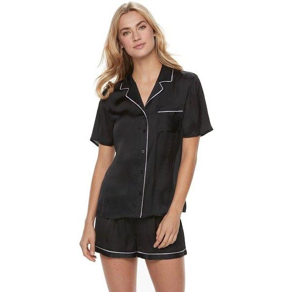 Women's Apt. 9® Pajamas: Soft Moonlight Satin Top & Shorts 2-Piece PJ... ($25) ❤ liked on Polyvore featuring intimates, sleepwear, pajamas, black, short sleeve pajama set, apt. 9, apt 9 sleepwear, satin pjs and satin pyjamas
