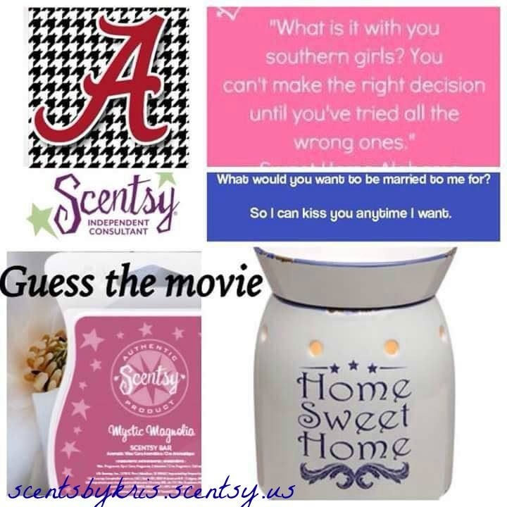 "Guess the Movie Scentsy Party Game: Sweet Home Alabama http://mommyscandles.scentsy.com... Be sure to click ""my open parties"" and choose a party to purchase your order"