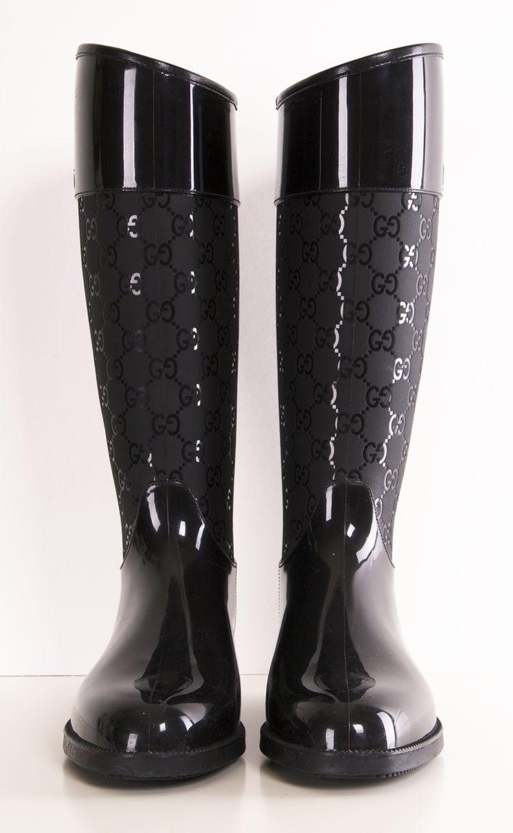 Fantastic Gucci Gg Short Rain Boots In Black  Lyst