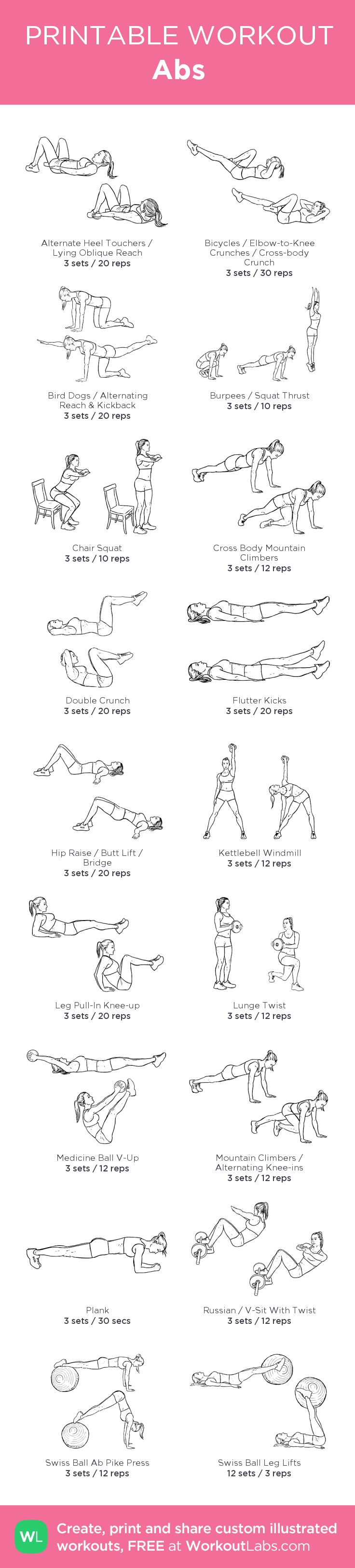 Abs – my custom workout created at WorkoutLabs.com • Click through to download as printable PDF! #customworkout