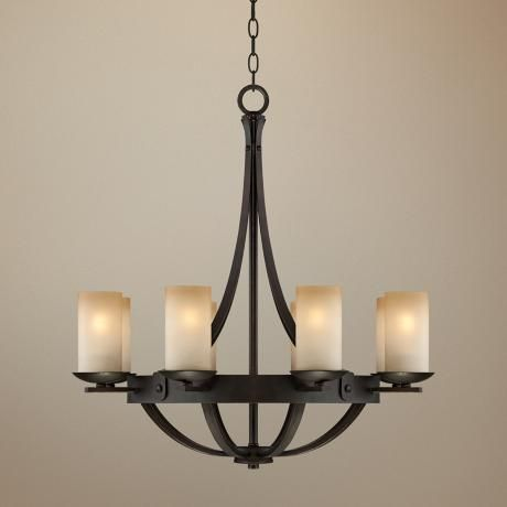 franklin iron works bronze 28 wide scavo glass chandelier. Black Bedroom Furniture Sets. Home Design Ideas