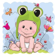 Cute cartoon baby vector art illustration