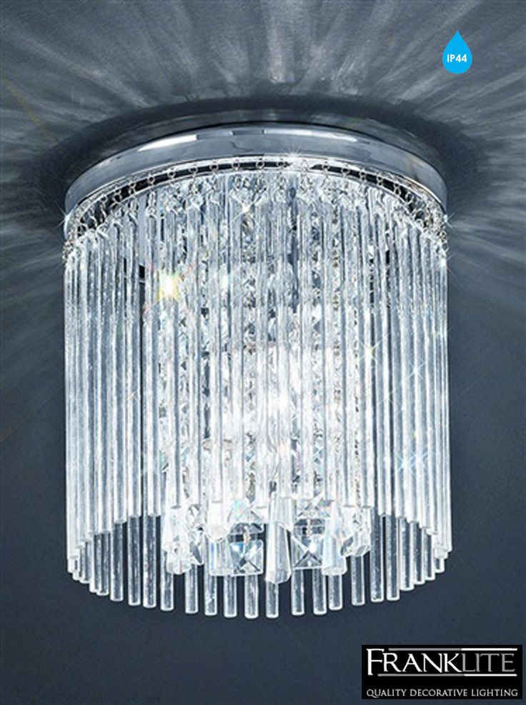 Franklite Charisma Chrome & Crystal Flush Small IP44 Rated Bathroom Ceiling Fitting - CF5726 None