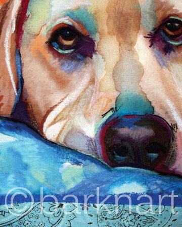 Yellow Lab Print by BARKNART on Etsy
