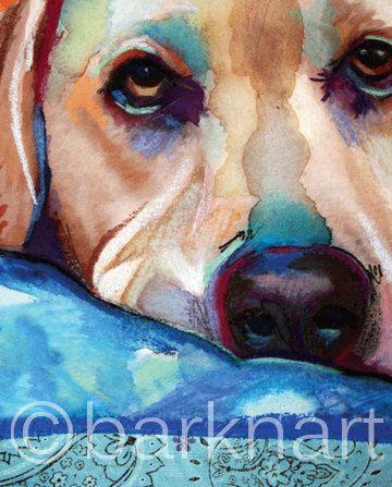 Labrador jaune impression de peinture originale par BARKNART
