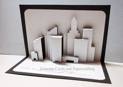 This is a wonderful New York skyline pop up greeting card by Popupology .     I opened their pdf in CorelDraw and added color to the buildi...