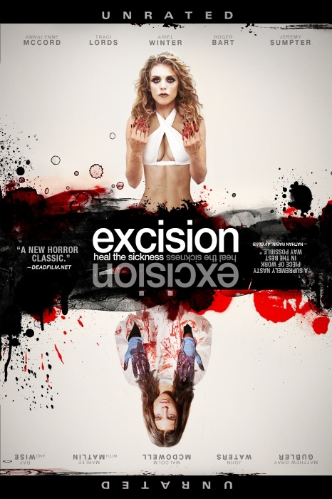 Excision Poster Artwork - Annalynne McCord, Traci Lords, Roger Bart - http://www.movie-poster-artwork-finder.com/excision-poster-artwork-annalynne-mccord-traci-lords-roger-bart/