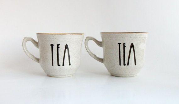 T E A Time Hand Illustrated Art Quote Mug Art Teacup Set 6 oz Dishwasher Safe