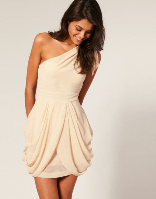 drapey ivory one-shoulder