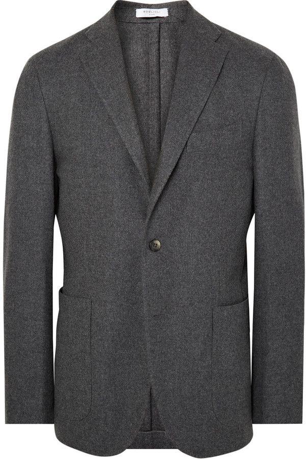 Boglioli Grey K-Jacket Slim-Fit Wool and Cashmere-Blend Blazer