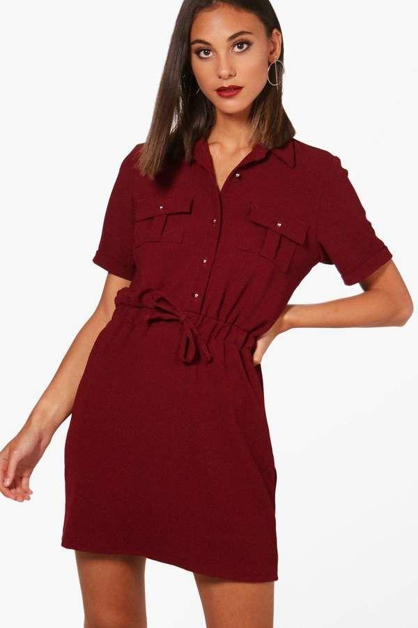 boohoo Daisy Tie Waist Shirt Skater Dress  dcbe59438
