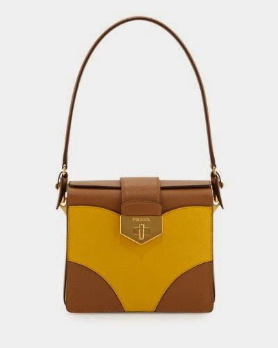 best choice handbags - Prada Turn-Lock Satchel Bag in Yellow and Brown Saffiano Leather ...