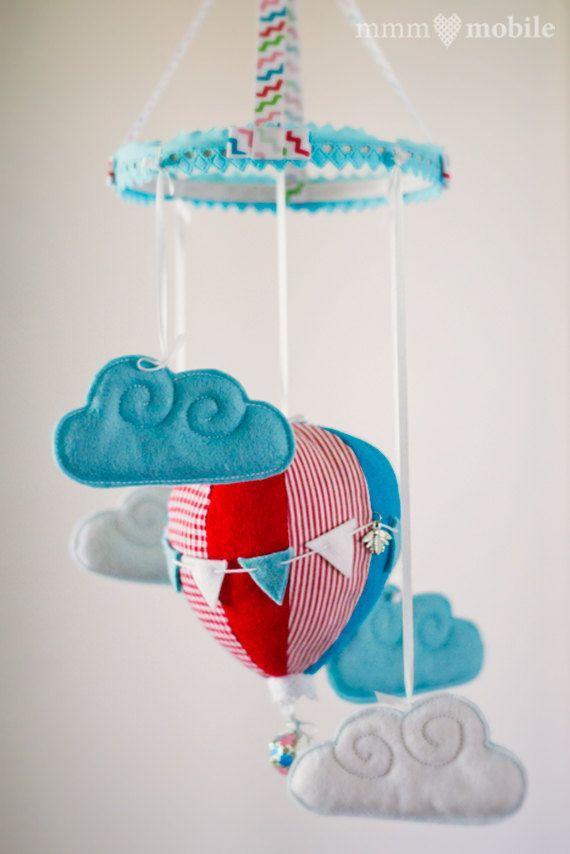 Hot Air Balloon Baby Crib Mobile - Aqua/Red/White - Baby Shower Gift