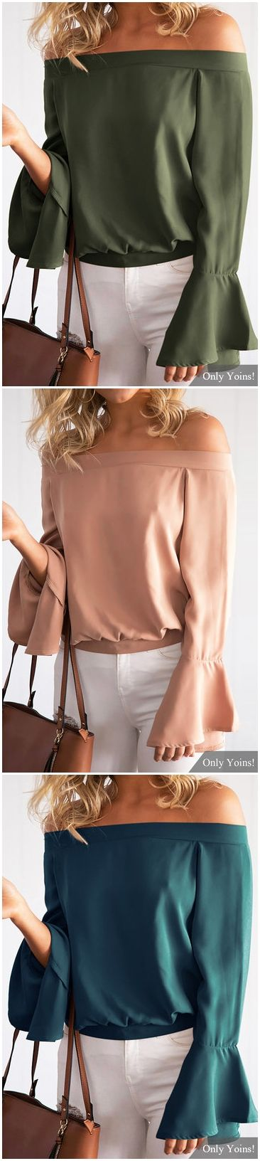 Green Sexy Off-shoulder Flared Sleeves Blouse US$11.99