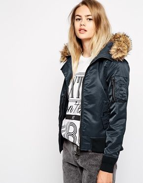 Schott NYC Hooded Bomber Jacket With Faux Fur Collar