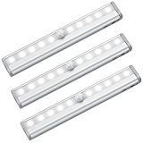 #9: Amir 10 LED Motion Sensing Closet Lights 3 Pack DIY Stick-on Anywhere Portable 10-LED Wireless Cabinet Night/ Stairs/ Step Light Bar with Magnetic Strip (Battery Operated)