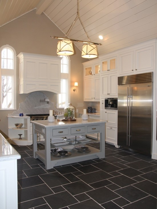 Dark Tile With White Grout Love The Different Sizes Throughout Very Pretty And Adds Floors Kitchenkitchen