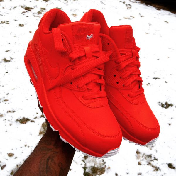 Candy Paint Nike Air Max 90 Hyperfuse Premium Customs in All Red,... ($200) ❤ liked on Polyvore featuring nike