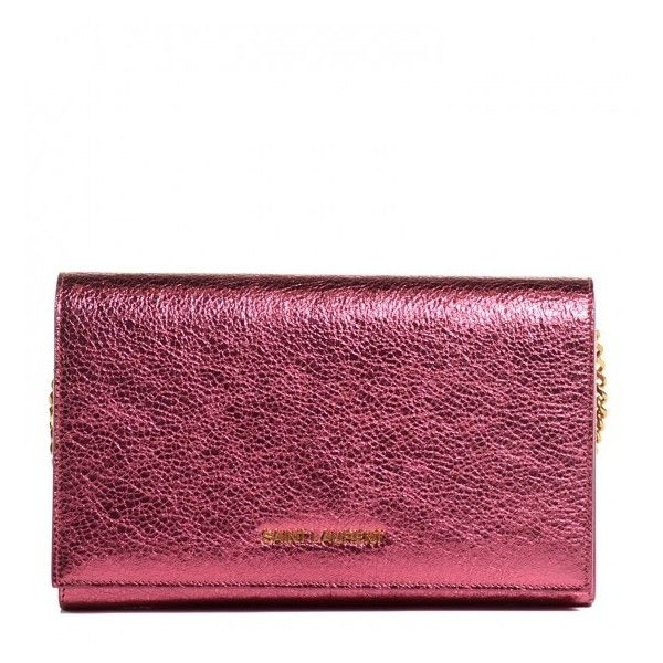 ysl chyc cabas red - SAINT LAURENT Metallic Crackled Goatskin Wallet on Chain Pink ...