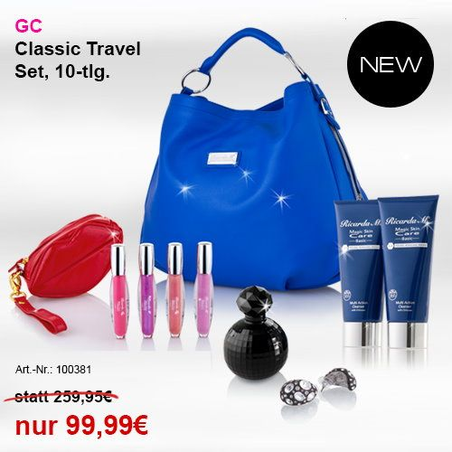 Ricarda M. bietet in Ihrem Online Shop auch Sets an: Wollen Sie mit der Handtasche auch gleich pflegende Lipglosse mit glamourösen Farben, ein sexy Parfum und hochwertige Pflege zu einem Super-Preis erwerben? Dann klicken Sie auf www.ricardam.com