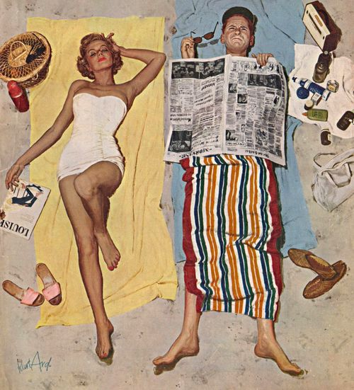 Sunscreen, art by Kurt Ard. Detail from Saturday Evening Post cover August 16, 1958.