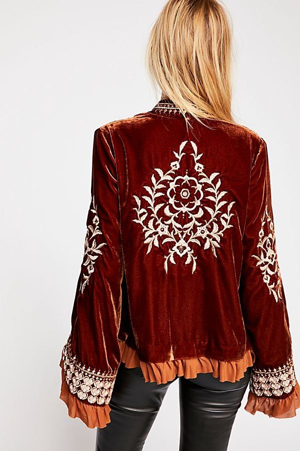5d613bb67e6 Paisley Park Jacket - Red-Orange Velvet Kimono Jacket with Cream Embroidery  and Ruffled Fabric Sleeves