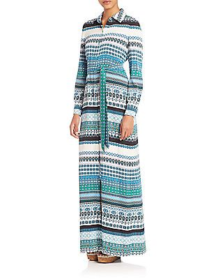 Diane von Furstenberg Amina Silk Maxi Dress - Sketch Dots