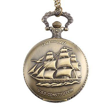 vela barco de estilo unisex USS aleación constitución de cuarzo analógico reloj de bolsillo (bronce) – MXN $ 82.04
