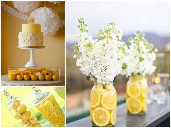 yellow and gray party...lemons in jars with simple bouquets. jars full of yellow fruit/candy.