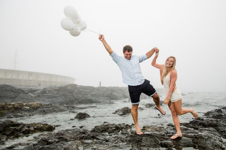 Fun with balloons. Happy and in love.  The misty atmosphere was not what we hoped for, but it turned out great.  It just worked out perfectly.