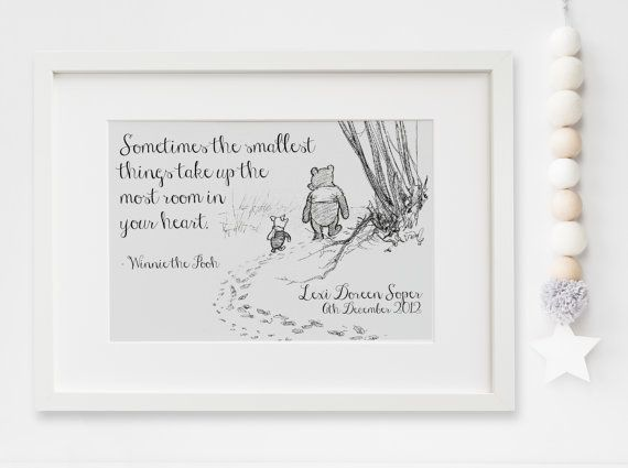Personalised New Baby Boy/Girl Winnie The Pooh Quote Nursery Birth Name Print Keepsake Picture Christening Gift